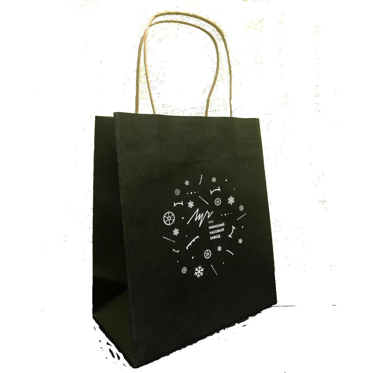 Крафт-пакет, черный, кр.ручка, логотип